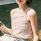 吊帶背心 彩虹夏季打底衫內搭針織吊帶泫雅條紋小背心外穿女-Ballet朵朵
