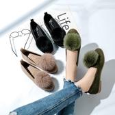 新款淺口圓頭單鞋女鞋 秋季舒適百搭帶毛毛球韓國平底鞋子女潮 快速出貨