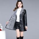 皮毛一體女外套新款韓版中長款修身加厚PU皮風衣女潮快速出貨