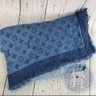 BRAND楓月 LOUIS VUITTON LV 401910 藍色 漸層 原花 40%羊毛 60%蠶絲 圍巾 披肩
