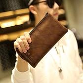 男手拿包  潮流新款錢包男長款錢夾拉鍊 新款手包大容量 復古手拿包多卡位男