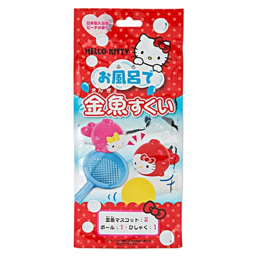 Sanrio HELLO KITTY水果香味入浴劑附迷你玩具組-桃子香(趣味撈金魚)★funbox★_668044N