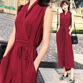 交叉V領洋裝雪紡修身夏女2020新款韓版純色無袖氣質中長款裙子
