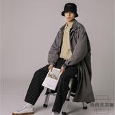 大衣男裝韓版中長款風衣拼接牛仔假兩件寬松外套【時尚大衣櫥】