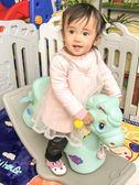 兒童搖搖馬帶音樂塑料大號加厚兩用嬰兒玩具1-2-6周歲寶寶小木馬w 【PINKQ】