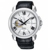 【僾瑪精品】SEIKO 精工 Premier 開芯經典機械腕錶-43mm/黑x銀/4R39-00S0P(SSA373J1)