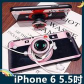 iPhone 6/6s Plus 5.5吋 紅粉相機保護套 軟殼 玻璃鏡面 全包款 氣囊支架 指環扣 繞線器 手機套 手機殼