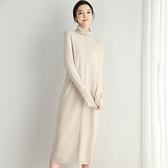 羊毛連身裙-高領純色不規則開叉修身女洋裝4色73uj40[巴黎精品]