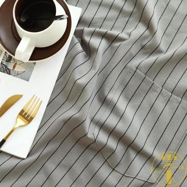 北歐條紋純棉廚房大碼圍裙防污罩衣圍腰男女【雲木雜貨】
