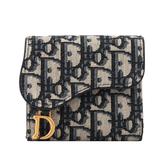 【DIOR】SADDLE LOTUS三折零錢袋短夾(藍色) S5652CTZQ_M928