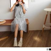 《DA6968-》個性不規則拼接雪紡蕾絲洋裝 OB嚴選