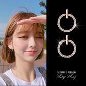 耳釘純銀女氣質韓國個性簡約百搭耳環防過敏圓圈精致迷你小耳墜女『潮流世家』