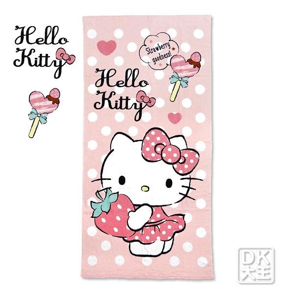 凱蒂貓 Kitty 最愛草莓童巾 兒童毛巾【DK大王】