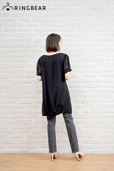 加大尺碼--OL都會風格拼接雪紡紗袖設計長上衣/洋裝(黑.藍XL-5L)-D412眼圈熊中大尺碼