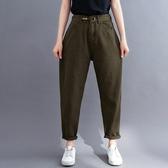 牛仔長褲~短袖襯衫 棉麻襯衫上衣~文藝大碼寬松顯瘦哈倫褲胖妹妹牛仔褲3F027A衣時尚