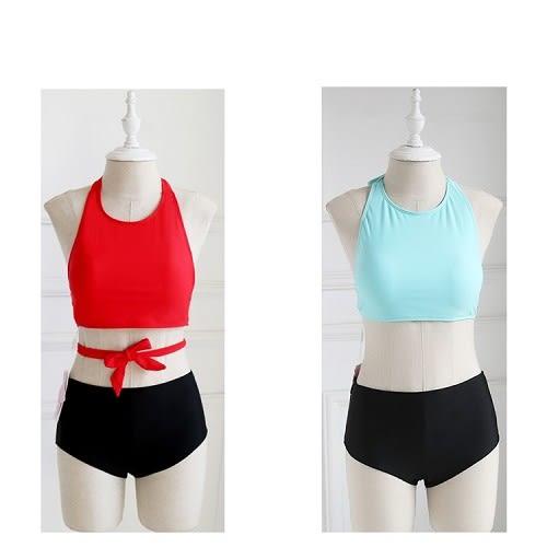 梨卡 - 性感甜美 [搶眼撞色+多穿法]多WAY比基尼 - 高腰綁帶遮肚兩件式泳裝泳衣CR102-1