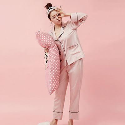 睡衣套裝 S-L長袖鑲邊襯衫領 珠光家居服套裝-3色【Ann梨花安】