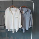 V領雪紡襯衫女長袖翻領韓版寬鬆bf白色