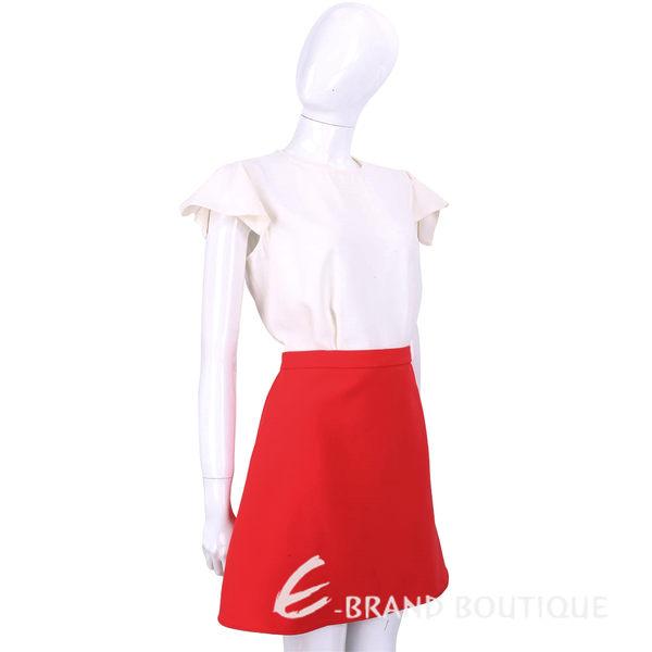 ELISABETTA FRANCHI 米白色拼接紅裙荷葉袖洋裝(可拆式) 1620189-40