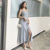 洋裝 V領露背抹胸高腰吊帶高腰開叉長款顯瘦連身裙