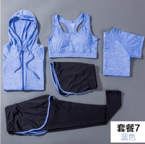 夏季健身房瑜伽服速幹運動套裝女顯瘦背心短袖上衣三件套跑步長褲 -2(主圖款)wh