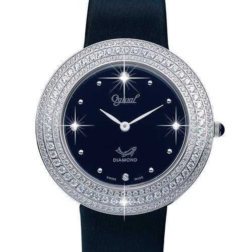 Ogival 瑞士愛其華  皎月系列 超薄珠寶真鑽腕錶-黑/28mm
