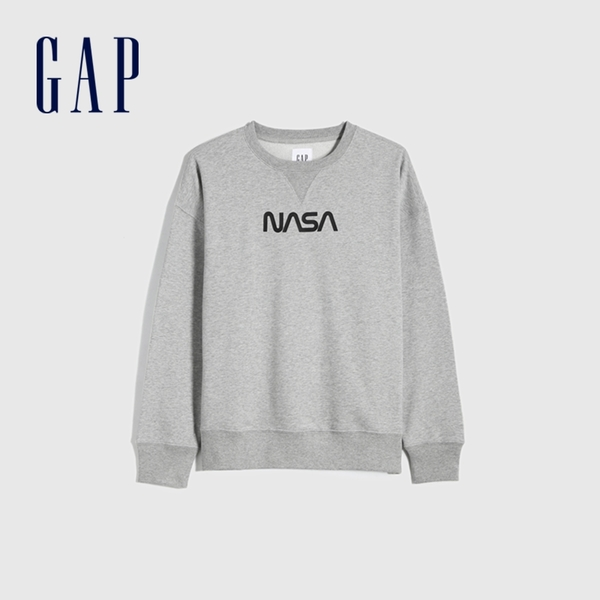 Gap男裝 碳素軟磨系列 Gap x NASA系列法式圈織休閒上衣 692701-淺灰色