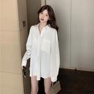 女襯衫 白色襯衫女外穿復古港味設計感2021秋季新款寬松百搭垂感長袖上衣【快速出貨八折鉅惠】