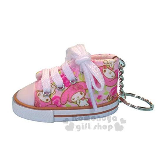 〔小禮堂〕美樂蒂 帆布鞋造型鑰匙圈《粉.多動作.玫瑰》 4548643-08877