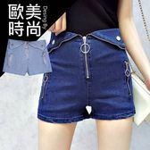 克妹Ke-Mei【AT45965】日本JP版型 軍風多拉鍊翻折釘釦彈力牛仔短褲