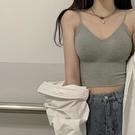 吊帶背心女 夏季外穿帶胸墊性感美背內衣修身內搭短款運動打底上衣【快速出貨】