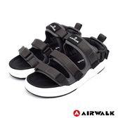 【AIRWALK】魔鬼氈增高二穿式涼鞋-深灰