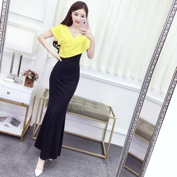 夏季新款韓版女裝氣質名媛V領撞色修身包臀開叉洋裝長裙女