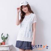 betty's貝蒂思 腰間釦環後鬆緊刺繡褲裙(深藍)