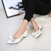 低跟鞋 夏季公主女鞋中低跟黑色尖頭高跟鞋粗跟職業單鞋女 綠光森林