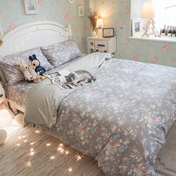 挪威花園 Q3雙人加大床包與雙人新式兩用被5件組  100%精梳棉  台灣製