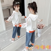 女童秋裝套裝兒童運動女孩連帽衫牛仔褲兩件套【淘嘟嘟】