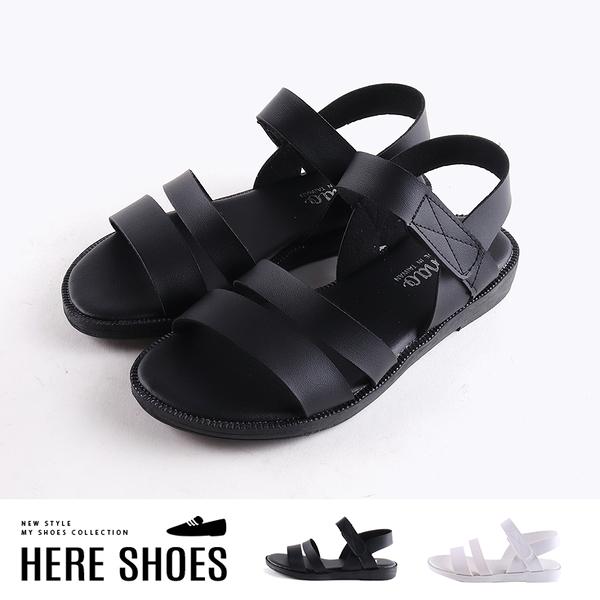 [Here Shoes]涼拖鞋-MIT台灣製 皮質鞋面 簡約百搭 魔鬼氈 舒適好穿休閒涼鞋-ADW757