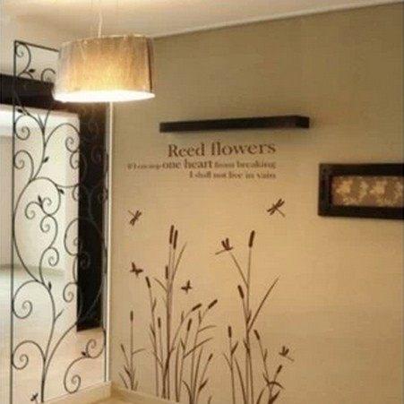 ►蘆葦花壁貼紙 臥室客廳電視背景貼 可移除牆貼裝飾貼畫玻璃貼【A3103】