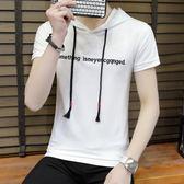 短袖T恤 圓領半袖連帽修身休閒學生青少年男T《印象精品》t296