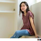 《AB15146-》純色觸膚涼感圓領荷葉拼接短袖上衣 OB嚴選