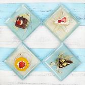 4件套海洋系列仿瓷小吃碟 耐摔塑料碟密胺骨碟 家用餐桌垃圾盤碟