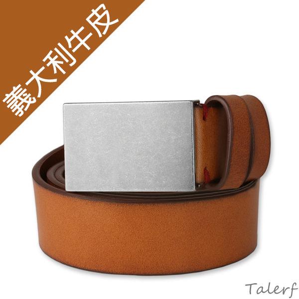 TALERF單層紳士休閒皮帶(棕色/共3色)-男 /真皮 牛皮/台灣製造