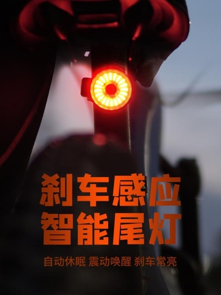 自行車燈尾燈剎車充電智能感應山地車燈夜騎高亮騎行裝備單車配件