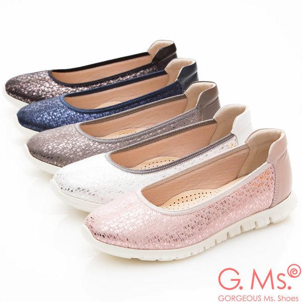 G.Ms. MIT輕量超軟Q-燙金蛇紋羊皮懶人休閒鞋*白色