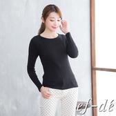 【ef-de】 直紋素色圓領長袖針織衫(黑)