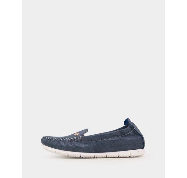 真皮休閒鞋-R&BB*MIT質感玫瑰莫卡辛特製加厚乳膠帆船平底鞋-藍色