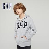 Gap男童 碳素軟磨系列 Logo法式圈織開襟連帽外套 762922-淺灰色
