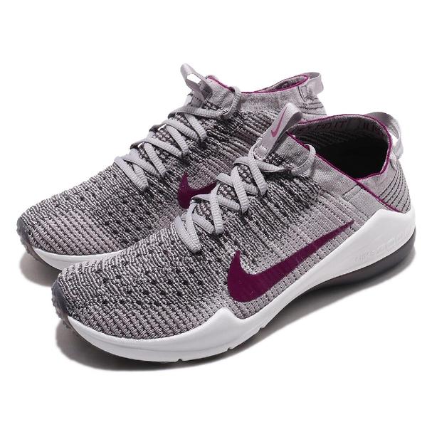Nike 訓練鞋 Wmns Air Zoom Fearless FK 2 灰 紫 飛線編織 女鞋 運動鞋【PUMP306】 AA1214-003