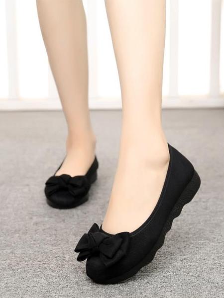 布鞋女新款時尚厚底平底豆豆單鞋上班軟底黑色工作鞋不累腳 快速發貨